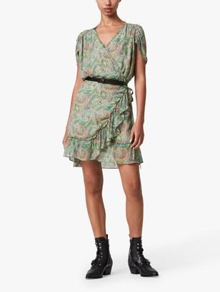 AllSaints Zini Paisley Print Wrap Dress, Green