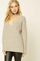 Forever 21 FOREVER 21+ Marled Knit V-Neck Sweater