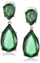 Kenneth Jay Lane Emerald-Color Teardrop Silver Clip Earrings