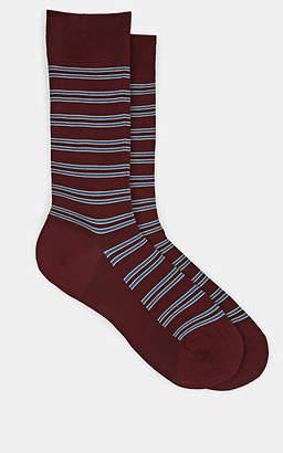 Barneys New York Men's Striped Cotton-Blend Mid-Calf Socks - Wine