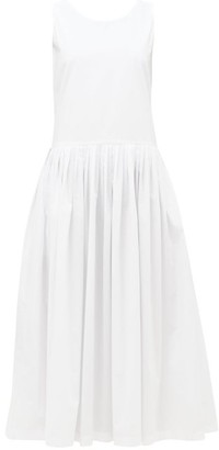 Sara Lanzi Tie-back Cotton-poplin Dress - White