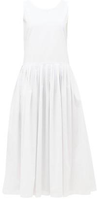 Sara Lanzi Tie-back Cotton-poplin Dress - Womens - White