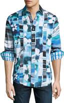 Robert Graham Arabian Sea Woven Button-Front Shirt, Blue