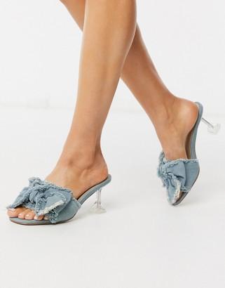 Asos Design DESIGN Honesty bow mules with flared heel in denim