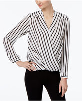 INC International Concepts Petite Striped Surplice Top, Only at Macy's