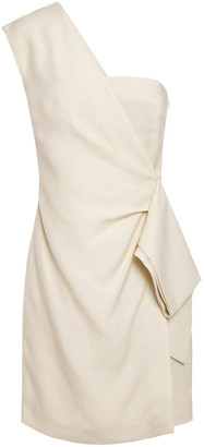 Victoria Victoria Beckham One-shoulder Draped Slub Mini Dress
