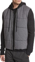 Vince Quilted Zip-Up Vest, Charcoal