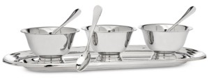 Godinger Revere Serving Tray with 3 Bowls & Spoons