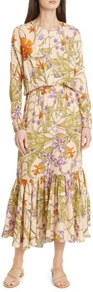 Johanna Ortiz Floral Long Sleeve Maxi Dress
