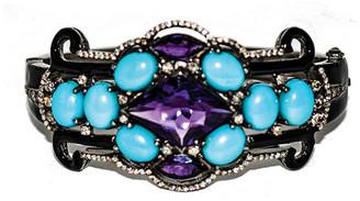 Arthur Marder Fine Jewelry Silver 7.10 Ct. Tw. Diamond & Amethyst Bangle