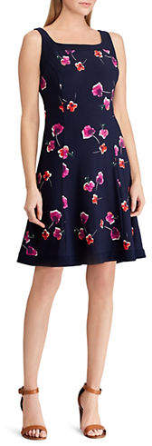 Chaps Floral Fit-and-Flare Jersey Dress