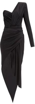 Alexandre Vauthier Dipped-hem Gathered Silk-blend Jersey Dress - Black