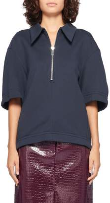 Tibi Easy Sculpted Polo Sweatshirt
