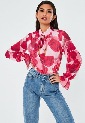 Missguided Rose Print Pussy Bow Long Sleeve Bodysuit
