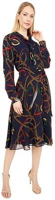 Lauren Ralph Lauren Print Georgette Shirtdress (Lauren Navy Multi) Women's Dress
