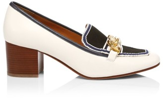 Tory Burch Jessa Block-Heel Leather Loafers