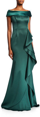 Rickie Freeman For Teri Jon Cuffed Off-the-Shoulder Satin Trumpet Gown w/ Side Ruffle