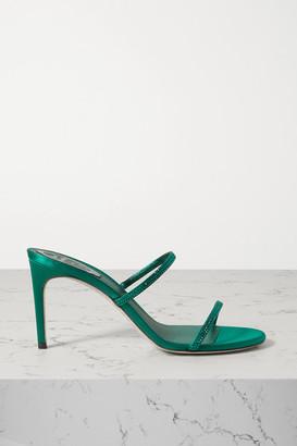 Rene Caovilla Bessie Crystal-embellished Satin Mules - Green