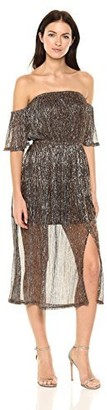 MinkPink Women's Midas Lurex Shiny Off The Shoulder Midi Dress