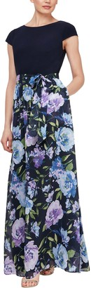 Slny Cap Sleeve Floral Skirt Maxi Dress