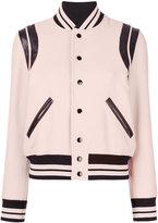 Saint Laurent varsity jacket - women - Cotton/Lamb Skin/Polyamide/Virgin Wool - 34