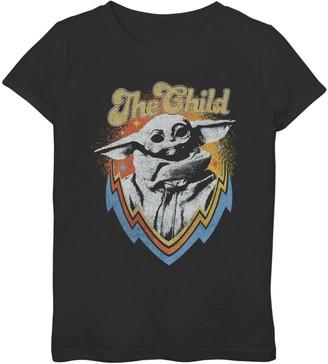Star Wars Girls 7-16 The Mandalorian The Child aka Baby Yoda Retro Badge Graphic Tee