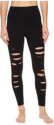 Alo 7/8 Ripped Warrior (Black) Women's Casual Pants