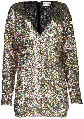 ATTICO Sequin Embellished V-Neck Mini Dress