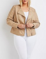 Charlotte Russe Plus Size Quilted Faux Leather Moto Jacket