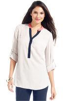 Alfani Top, Long-Sleeve Contrast Band-Collar Shirt