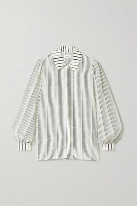 ARIAS Striped Silk-crepe Shirt - White