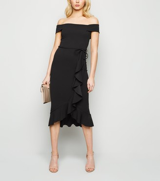 New Look Ruffle Bardot Midi Dress