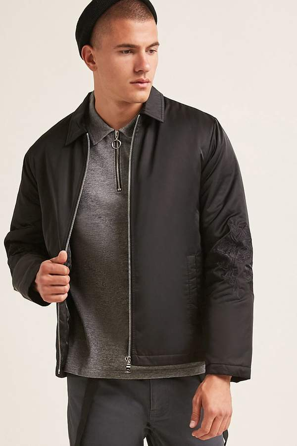 Forever 21 Embroidered Zip-Front Jacket