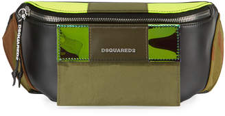 DSQUARED2 Men's Small Leather Belt Bag w/ Canvas Trim