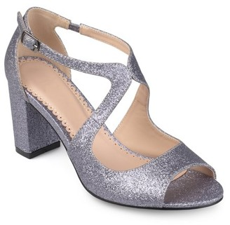 Brinley Co. Women's Glitter Intersecting Straps Block Heel Open Toe Heels