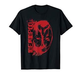 Marvel Deadpool Vertical Red Splatter Logo and Face T-Shirt