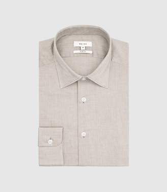 Reiss Zay - Slim Fit Cotton Shirt in Taupe