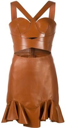 Alexander McQueen Halterneck Short Leather Dress
