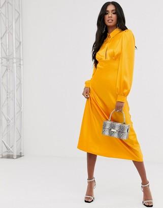 Asos Design DESIGN maxi satin tea dress with collar-Yellow