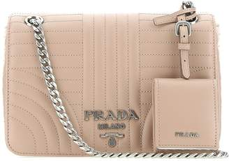 Prada Tag Detail Quilted Crossbody Bag