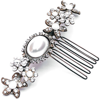 Halo & Co Small Vintage Inspired Pearl Cabochon Comb In Antique Gold Tone
