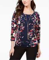 JM Collection Petite Dolman-Sleeve Necklace Top, Created for Macy's