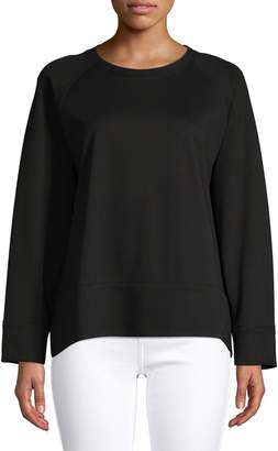Eileen Fisher Long Raglan-Sleeve Crew Neck Sweater