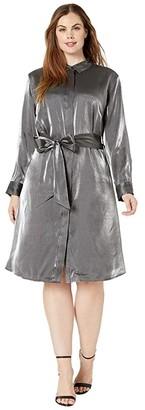Lauren Ralph Lauren Plus Size Satin Shirtdress (Black/Gunmetal) Women's Clothing