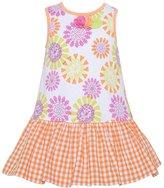 Baby Lulu Little Girls Floral Checker Print Drop Waist Dress