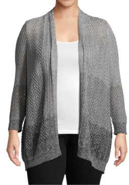 John Paul Richard Plus Size Ombre Open-Front Cardigan
