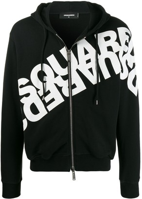 DSQUARED2 Double Logo Print Zipped Hoodie