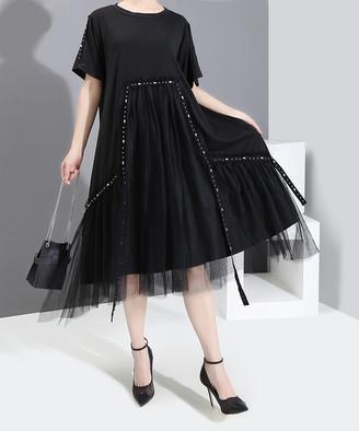 Stella Marina Collezione Women's Casual Dresses Black - Black Tulle-Overlay Embellished Shift Dress - Women