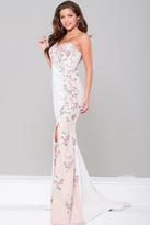 Jovani High Slit One Shoulder Applique Dress JVN41458