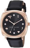 Marc Jacobs Women's 'Mandy' Quartz Stainless Steel and Leather Casual Watch, Color:Black (Model: MJ1565)
